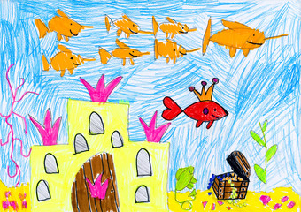 drowned castle and treasure. child drawing.