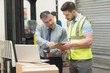 Workers scanning package in warehouse - 79724536