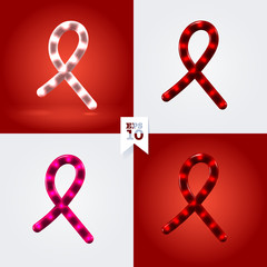 White, red and pink ribbon garland cancer and hiv awareness symb