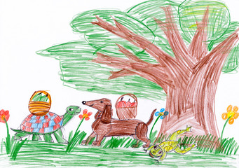 dog and turtle in forest. child drawing