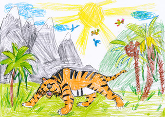 tiger in the wild. child drawing