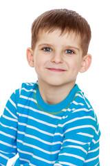 little boy in a striped T-shirt, close-up