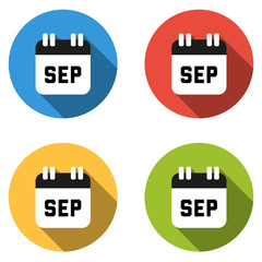 Collection of 4 isolated flat colorful buttons for September (ca