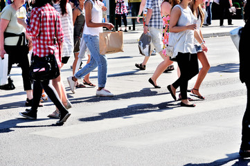 Pedestrian crowd walking