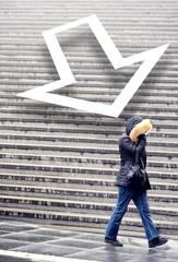 Feling down? Woman in the rain