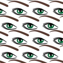 Symbolic modern pattern with female blue eyes