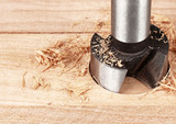 wood processing, auger drilling, close up