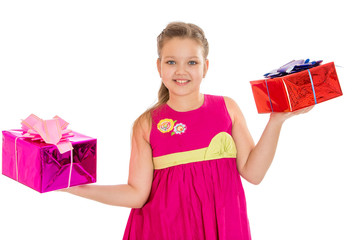 beautiful caucasian girl holding a beautifully packaged gifts