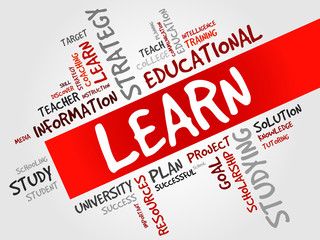 LEARN word cloud, education concept