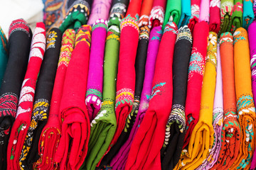 Various of colorful Indian fabrics in market