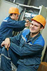 happy electrician engineer worker