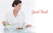 Good food against businesswoman using computer while eating
