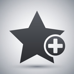 Vector star favorite icon with plus glyph