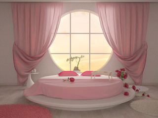 bedroom with a circular window and a round bed in pink