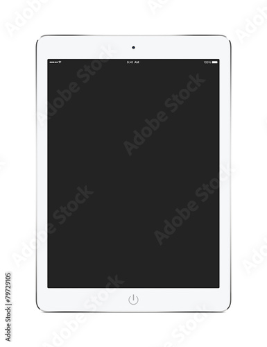 Front view of white tablet computer with blank screen mockup - 79729105