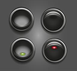 Black round button