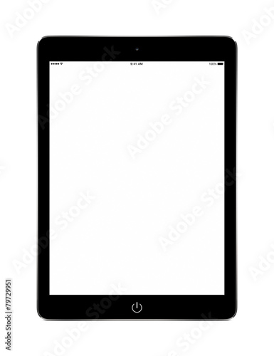 Front view of black tablet computer with blank screen mockup - 79729951