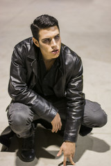 Young Vampire Man with Black Leather Jacket
