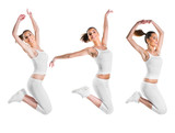 Fit, beautiful, young woman jumping, three poses