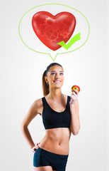 Young woman on healthy diet for a healthy heart and body