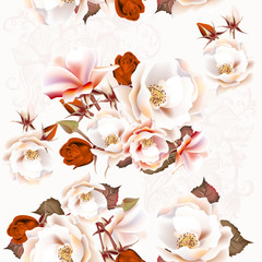 Floral seamless pattern with roses in vintage style © mashakotcur