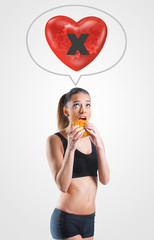 Young woman on unhealthy diet for an unhealthy heart