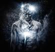 Man with conceptual spiritual body art