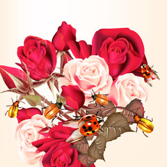 Flower pattern with roses and lady birds