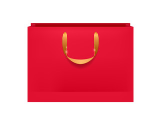 Blank red paper bag with golden handles.