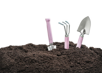 garden tools in soil isolated