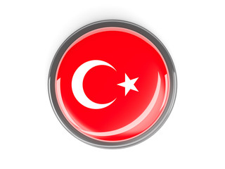 Round button with flag of turkey