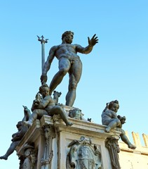 Bologna, Italy, statue of Neptune nude with Trident