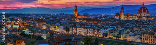 Florence city panorama at sunset. Panoramic view. - 79732943
