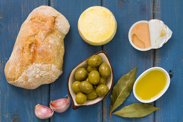 bread with olives, pate and olive oil