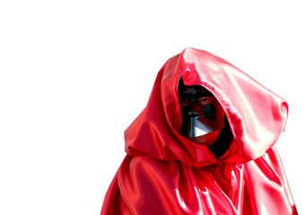 person dressed in black mask and dressed in red hood