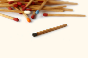 Colourful of matches are on white background.