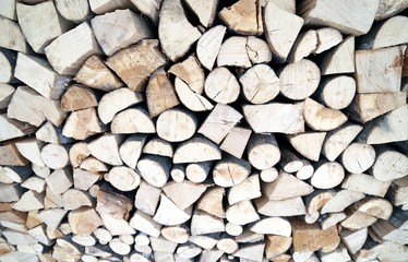Woodshed with many logs for the wood-burning stove