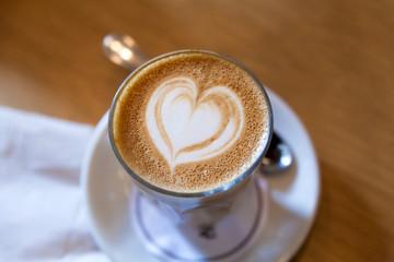 Caffe Latte with Heart Shape Foam Pattern