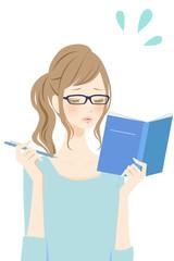 勉強する女性 焦る