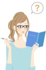 勉強する女性 ハテナ