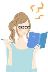 勉強する女性 イライラ