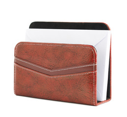 Red leather envelope holder isolated