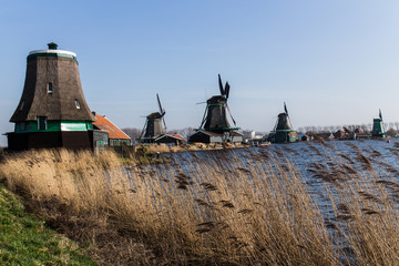 Dutch windmills with canal close the Amsterdam, Netherlands