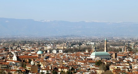Vicenza, Italy, Panorama of the city with the mountains in the b