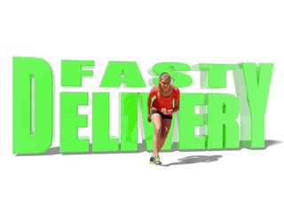 fast delivery text and running woman in sport wear