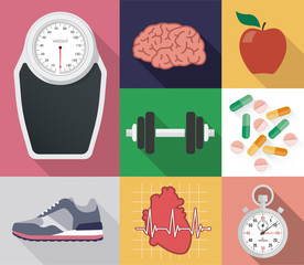 Diet and health vector set
