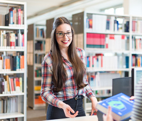 student girl at a library