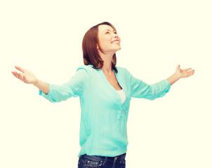 smiling woman waving hands