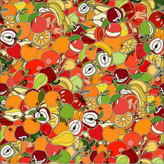 Seamless pattern with set of fruits and vegetation