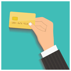 Flat design style illustration. Hand hold credit card to pay